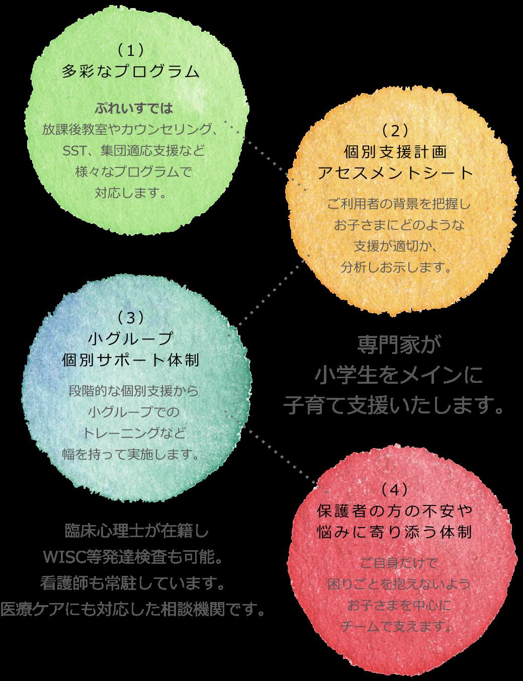 (1)多彩なプログラム(2)個別支援計画アセスメントシート(3)小グループ個別サポート体制(3)小グループ個別サポート体制